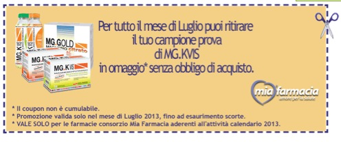coupon da stampare - Campioni gratuiti integratori MiaFarmacia