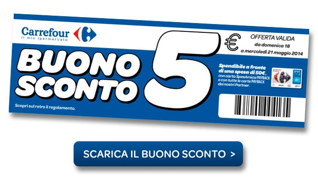 Anche a maggio coupon carrefour coupon da stampare e for Buoni coupon