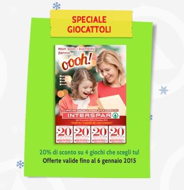 Buoni spesa Interspar sui giocattoli fino a Gennaio 2015