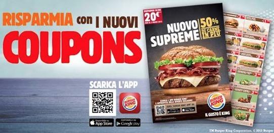 Buoni sconto Burger King 2015