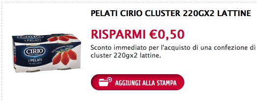 Coupon da stampare pelati Cirio