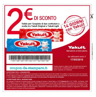 Buono sconto Yakult valore 2 euro