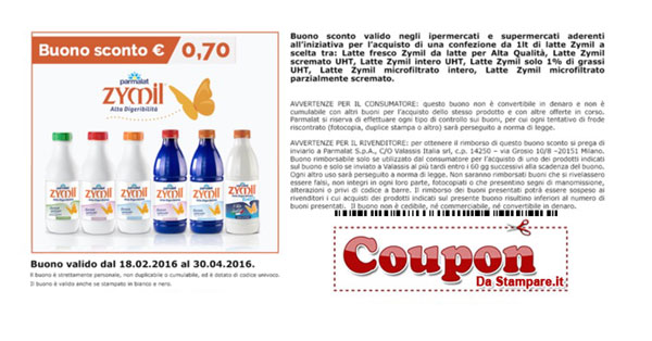 Coupon latte Zymil da stampare