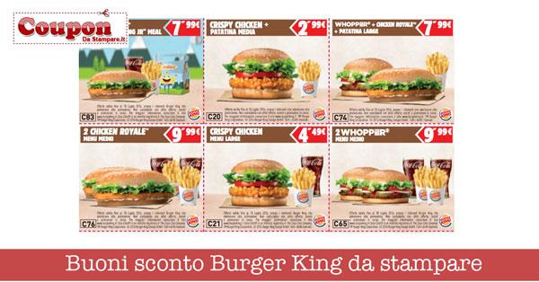 Buoni sconto Burger King da stampare