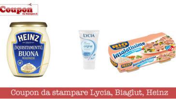 Coupon da stampare Lycia, Biaglut, Heinz: approfittane subito!