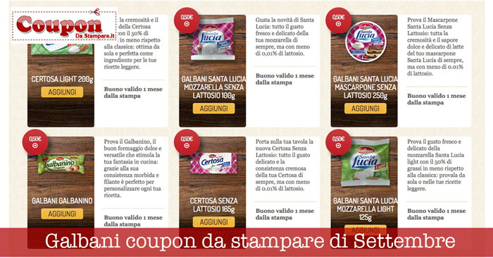 Galbani coupon da stampare di Settembre