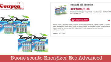 Coupon batterie Energizer (valore 1€): stampalo adesso