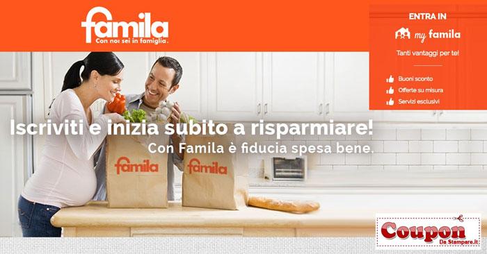 Buoni sconto Famila: registrati gratis